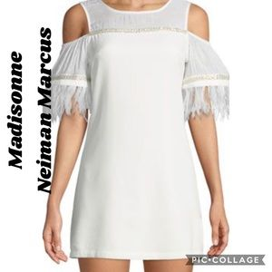New madisonne dress cold shoulder with feather